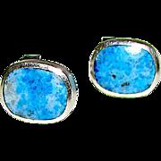 Vintage Southwestern Trading Post Sterling Silver 925 Lapis Post Earrings
