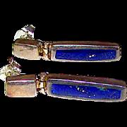 Deco Sterling Silver Lapis Lazuli Pierced Dangle Earrings