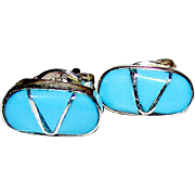 Native American Zuni sterling Silver Sleeping Beauty Mine Turquoise Inlay Post Earrings