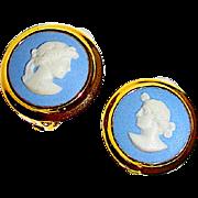 Vintage Wedgwood Blue Jasperware Cameo Clip On Earrings Gilt