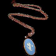 Vintage Wedgwood Blue Jasperware Cameo Pendant Necklace Neoclassical Design Gilt