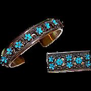 Antique Art Nouveau 900 Silver Turquoise Blue Enamel Bracelet and Brooch Set Floral Design