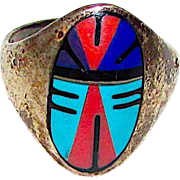 Old Pawn Zuni Sterling Silver 925 Turquoise Lapis Coral Inlay Ring Size 5.5