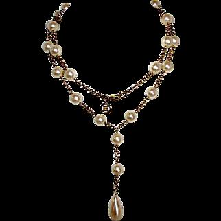 Vintage GIVENCHY Designer Runway Faux Pearl Drop Necklace