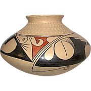Vintage Mata Ortiz Mexican Hand Coiled Hand Painted Clay Pottery Olla By Highly Collectible Nicolas Quezada