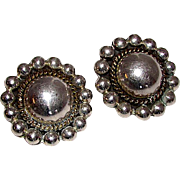 Taxco Mexican Sterling Silver 925 Clip On Earrings Sun Design