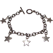 Taxco Mexican Sterling Silver 925 Link Bracelet with Star Charms