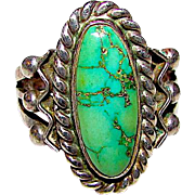 Vintage Native American Navajo Sterling Silver Carico Lake Mine Green Turquoise Statement Ring Size 7.5