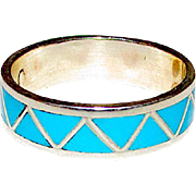 Native American Zuni Old Pawn Sterling Silver Sleeping Beauty Mine Turquoise Inlay Ring Band Size 8