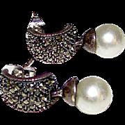 Vintage Designer Judith Jack Sterling Silver Cultured Pearl Marcasites Pierced Dangle Statement Earrings