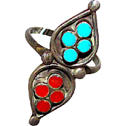 Old Pawn Zuni Sterling Silver Turquoise Coral Statement Ring Size 7.5