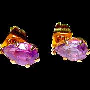 Vintage Estate 10K Gold Purple Amethyst Post Earrings Fine Estate Jewelry