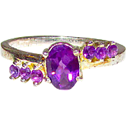 Deco Sterling Silver 925 Amethyst Cocktail Ring Size 8