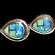 Native American Navajo Sterling Silver Opal Fire Opal Mosaic Inlay Pierced Post Earrings