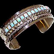 Vintage Navajo Sterling Silver 925 Opal Statement Cuff Bracelet Artist Signed Native American Bracelet