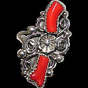 Vintage Native American Navajo Sterling Silver Mediterranean Branch Coral Statement Ring Size 8 Squash Blossom Design