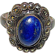 Art Deco Sterling Silver Marcasites Lapis Lazuli Statement Cocktail Ring Size 6.5