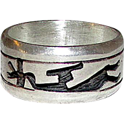 Vintage Native American Hopi Sterling Silver Kokopelli Ring Size 8 Tribal Design