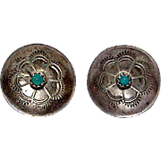 Old Pawn Navajo Sterling Silver Turquoise Wedding Basket Design Pierced Earrings Native American Jewelry