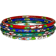Cloisonné Oriental Chinese Bangle Bracelets Set of 4 Cobalt Blue Emerald Green White Red Cloisonne Bangles