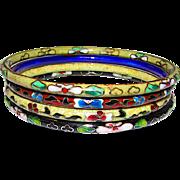 Cloisonné Oriental Chinese Bangle Bracelets Set of 4
