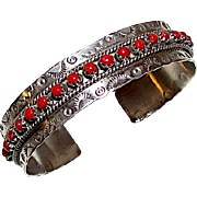 "Native American Zuni Sterling Silver Mediterranean Coral Cuff Bracelet ""Snake Eyes"" Tribal Hand Etched Design Signed"