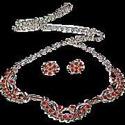 Vintage Native American Zuni Sterling Silver Mediterranean Coral Necklace Earrings Set