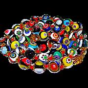 Vintage Italian Millifiore Glass Beaded Necklace 9mm Beaded Millifiore Necklace