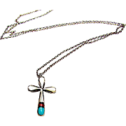 Zuni Sterling Silver Turquoise Coral MOP Inlay Cross Pendant Necklace Old Pawn Native American Jewelry
