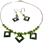 Sterling Silver 925 Green Peridot Necklace Earrings Set Mod Artisan Jewelry