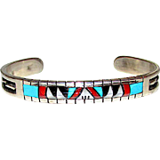 Native American Zuni Sterling Silver Turquoise Coral MOP Jet Inlay Cuff Bracelet Signed