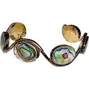 Taxco Mexican Sterling Silver Pre Eagle Abalone Shell Cuff Bracelet Wave Design