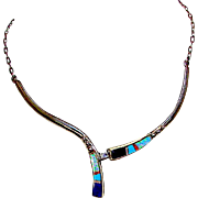 Native American Old Pawn Zuni Sterling Silver Turquoise Coral Opal Lapis Mosaic Inlay Necklace