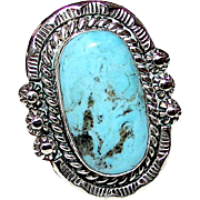 Vintage Native American Navajo Sterling Silver Dry Creek Turquoise Statement Ring Size 9 by Highly Collectible Artist James Martin