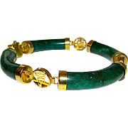 Green Nephrite Jade Jadeite Bangle Link Bracelet Spinach Green Jade Bracelet Gold Filled Chinese Prosperity, Longevity, Good Fortune Symbols Link Bracelet