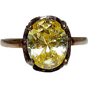 Deco Sterling Silver 925 Yellow Citrine Solitaire Cocktail Ring Size 9