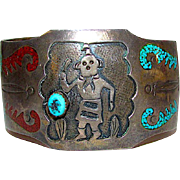 Native American Old Pawn Navajo Sterling Silver Kingman Mine Turquoise Mediterranean Coral Inlay Kachina Cuff Bracelet 55gr Rare