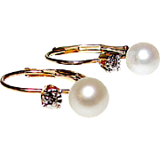 14K Gold 5mm Cultured Akoya Pearl Diamond Earrings Fine Estate Jewelry