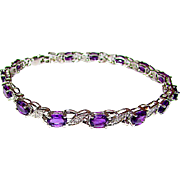 Purple Amethyst Diamond Accent Sterling Silver 925 Tennis Link Bracelet Fine Estate Jewelry