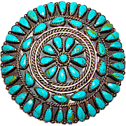 Vintage Navajo Sterling Silver Turquoise Rosette Cluster Brooch Pin Pendant Large Old Pawn Turquoise Pin/Pendant Rare Museum Quality