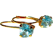 Vintage Estate 10K Gold Blue Topaz Earrings Fine Estate Jewelry