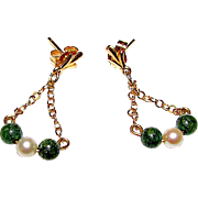 14K Gold Jade Jadeite Cultured Akoya Pearl Dangle Earrings Fine Estate Jewelry