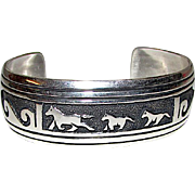 Native American TOMMY SINGER Navajo Sterling Silver Running Horse Wild Mustangs Design Cuff Bracelet Hand Etched Native American Jewelry