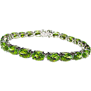 Green Peridot Sterling Silver 925 Tennis Link Bracelet Fine Estate Jewelry