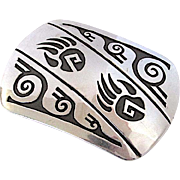 Vintage Navajo Rosco Scott Sterling Silver Bear Paw Belt Buckle Signed by the Artist