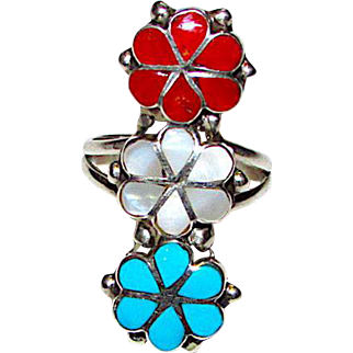 Vintage Old Pawn Native American Zuni Sterling Silver Sleeping Beauty Mine Turquoise Coral MOP Flower Custer Ring Size 6.5 Mosaic Inlay