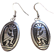 Vintage Native American HOPI Sterling Silver Pierced Dangle Statement Earrings Kokopelli Design