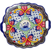 Vintage Mexican Pottery Talavera Decorative Folk Art Bowl with Handles