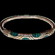 Sterling Silver 925 Malachite Inlay Bangle Bracelet 925 Taxco Mexican Sterling Silver Bracelet
