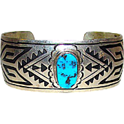 """Vintage Native American Navajo Sterling Silver Kingman Turquoise Etched Cuff Bracelet by Highly Collectible Navajo Artist Jacob Kahe """"KK"""""""